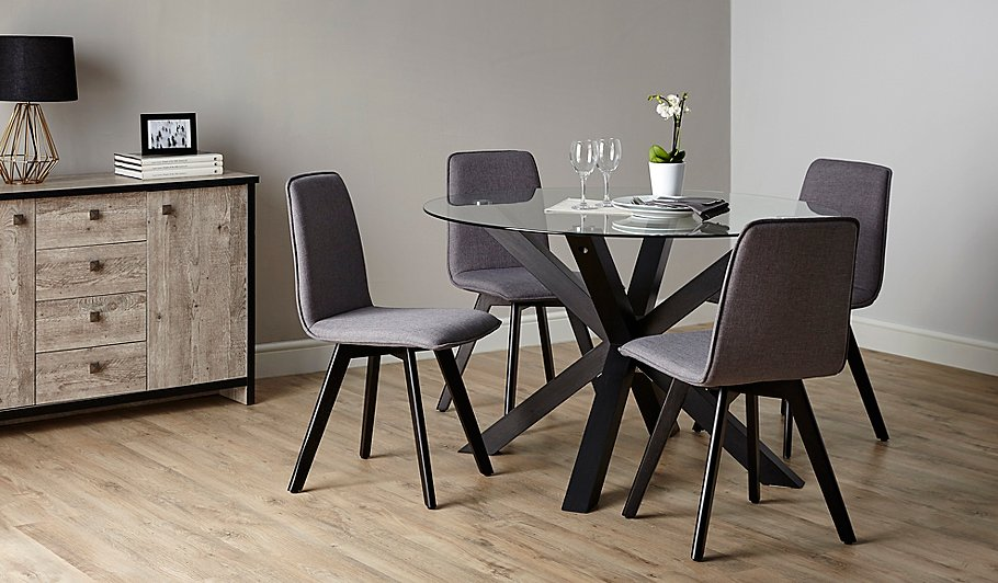 Winston Round Dining Table And 4 Chairs - Black