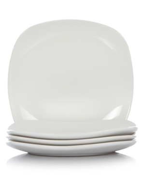 White Square Side Plates - Set of 4  sc 1 st  George - Asda & White Square Side Plates - Set of 4 | George