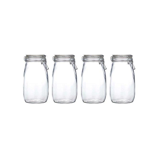Glass Clip Lid Jar 15l Set Of 3