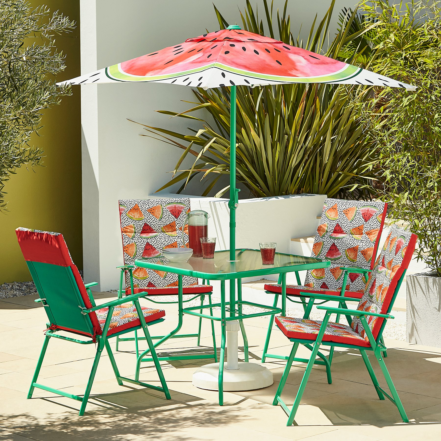 George home 6 piece patio set with cushions watermelon reset