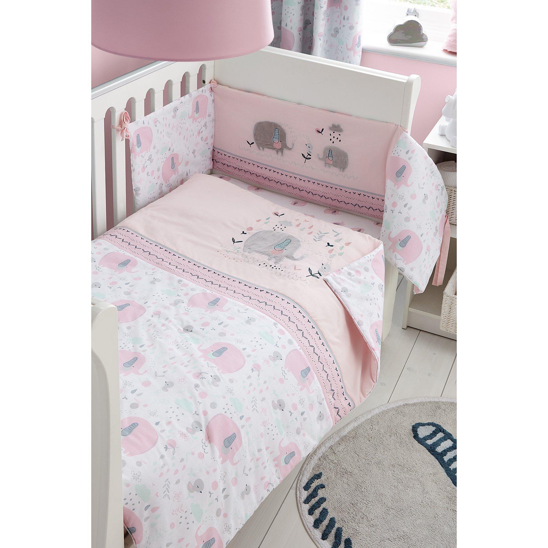 Pink Elephant Print Baby Bedding Bundle George