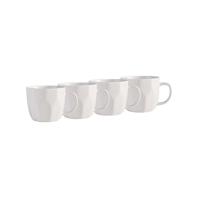 3269c8c90919 White Faceted Matte Mugs Set of 2 | George