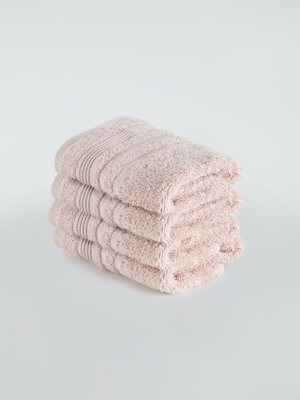 Pink Egyptian Cotton Face Cloth - 4 Pack