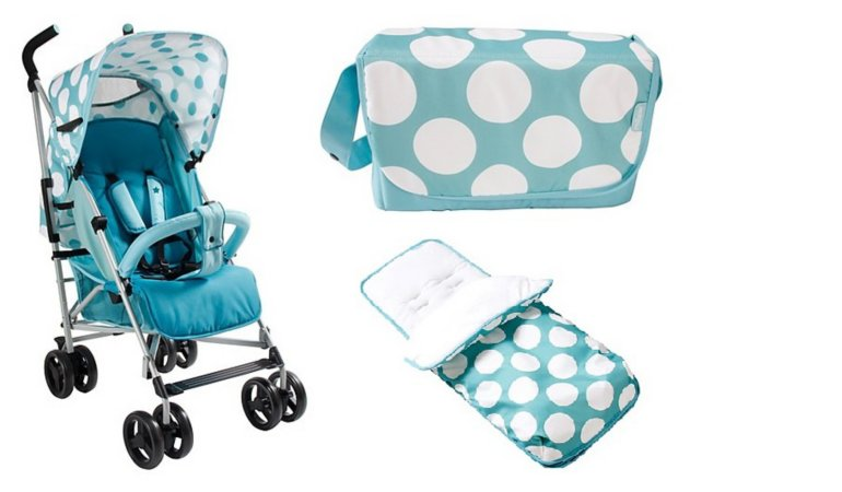 Blue Dots Pushchair, Footmuff And Changing Bag