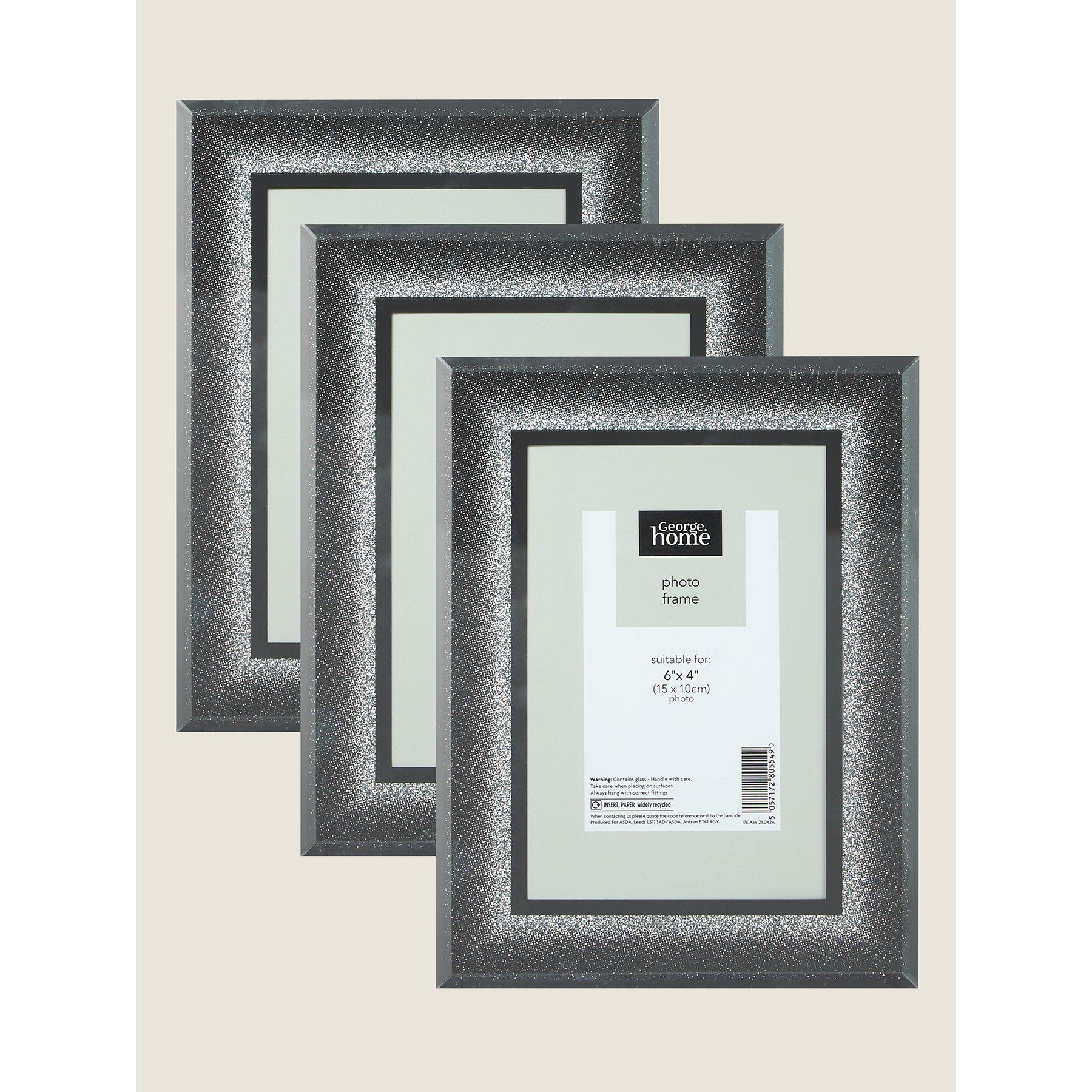 asda black glitter photo frame. Black Bedroom Furniture Sets. Home Design Ideas