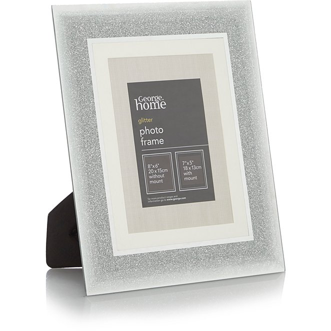 Silver Glitter Ombre Frame 7x5 Inch 2 Pack George