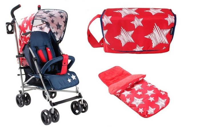 Red Stars Pushchair,Footmuff And Changing Bag