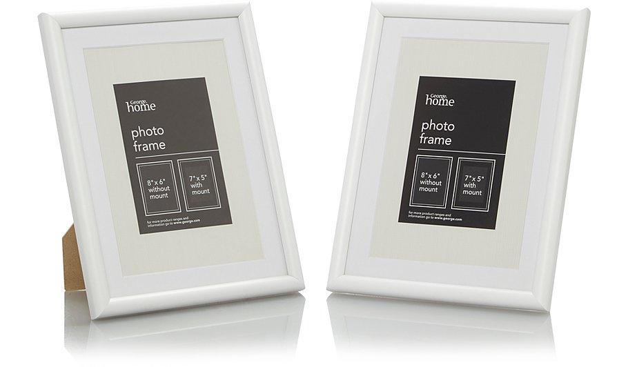 White Photo Frame 7 X 5 Inch - 2 Pack | George