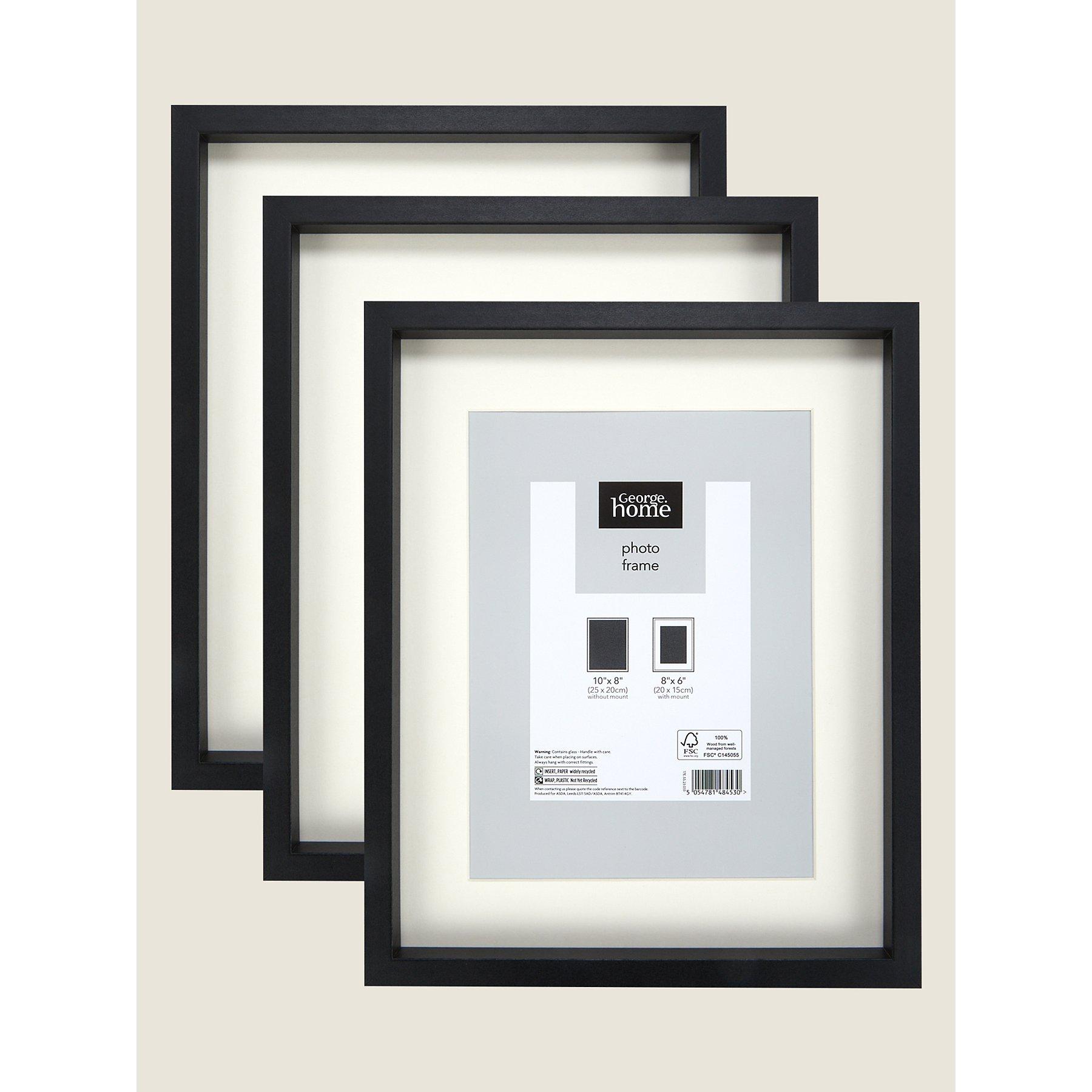 Black Boxed Photo Frame 8x6 Inch 3 Pack George