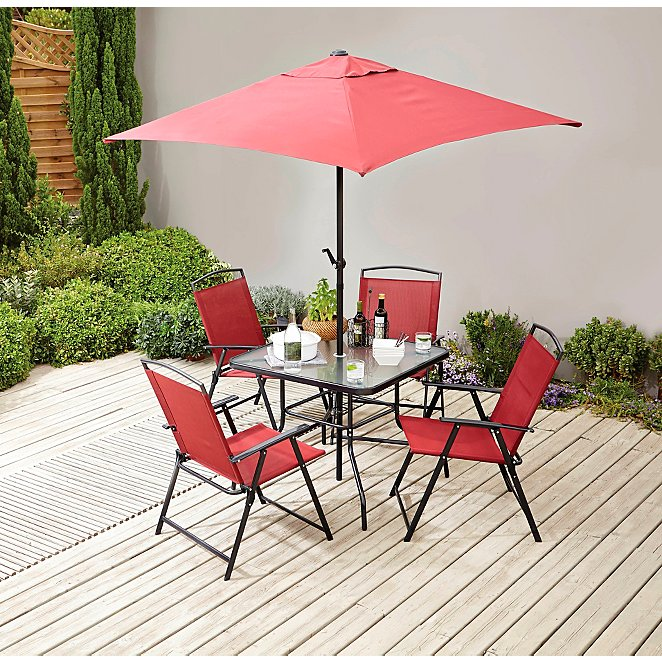 Miami Red 6 Piece Garden Patio Set, Red Patio Table And Chairs