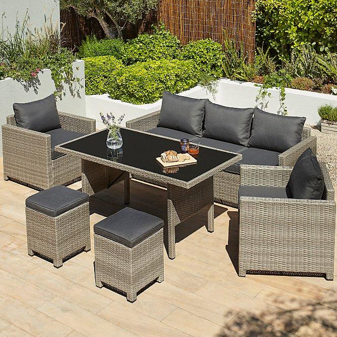 Groovy Jakarta Charcoal 6 Piece Garden Sofa Dining Set Frankydiablos Diy Chair Ideas Frankydiabloscom