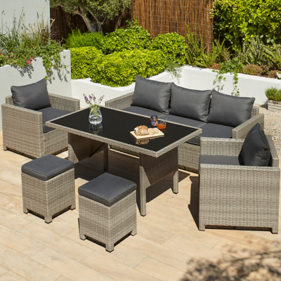Picture of: Jakarta Charcoal 6 Piece Garden Sofa Dining Set George