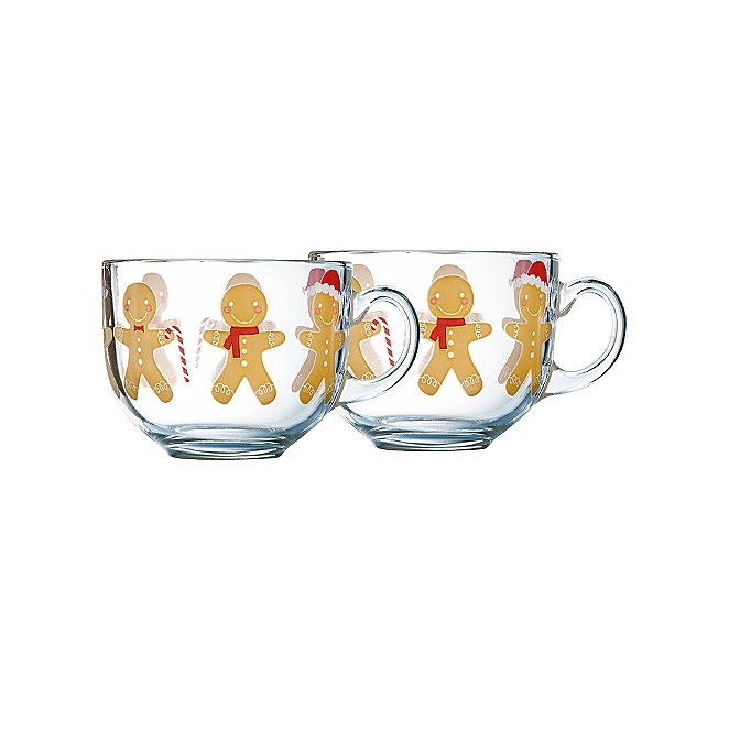 Gingerbread Men Glass Cappuccino Mug Set Of 2