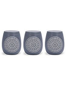 Grey Debossed Global Canister Set of 3