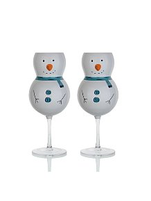 Snowman Shaped Christmas Wine Glasses Set of 4