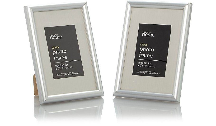 Silver Photo Frame 6 X 4 Inch - 2 Pack | Photo Frames | George at ASDA