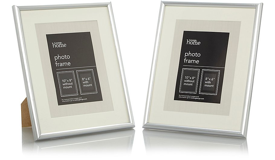 Silver Photo Frame 8 X 6 Inch - 2 Pack | Photo Frames | George at ASDA