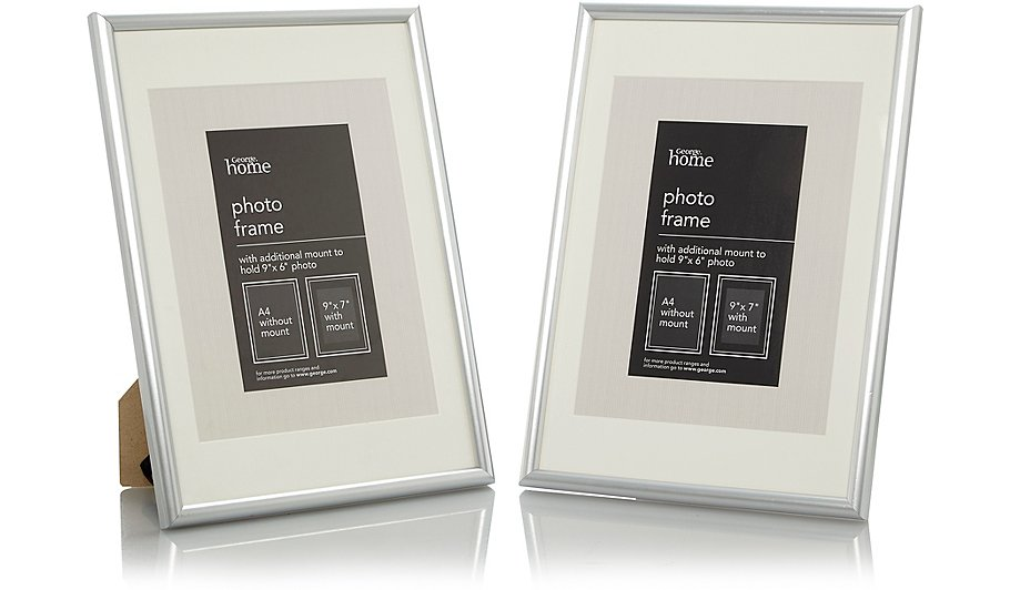 Silver Photo Frame 9 X 7 Inch - 2 Pack | Photo Frames | George at ASDA