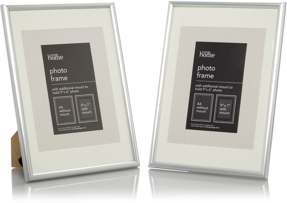 Silver Photo Frame 9 X 7 Inch 2 Pack Photo Frames George At Asda