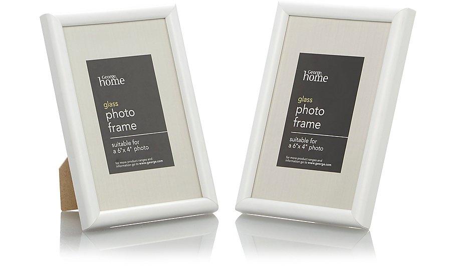 White Photo Frame 6 X 4 Inch - 2 Pack | Photo Frames | George at ASDA