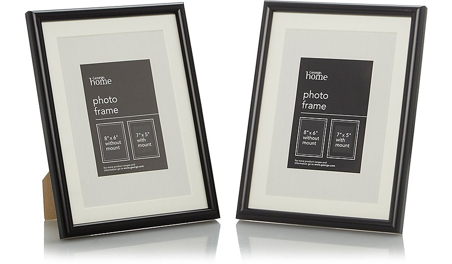 Black Photo Frame 7 X 5 Inch - 2 Pack | Photo Frames | George at ASDA