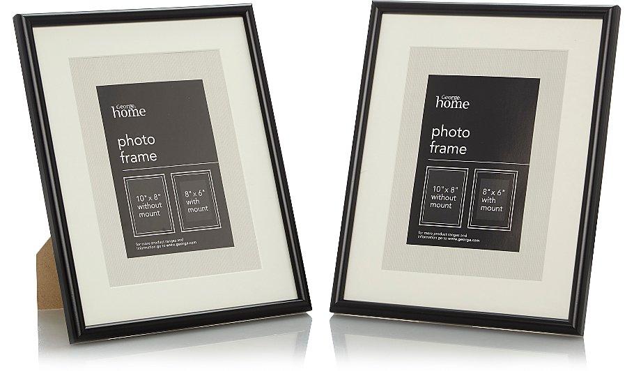 Black Photo Frame 8 X 6 Inch - 2 Pack | Photo Frames | George at ASDA