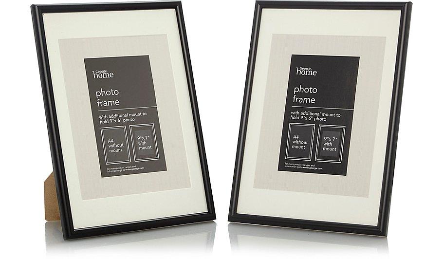 Black Photo Frame 9 X 7 Inch - 2 Pack | Photo Frames | George at ASDA