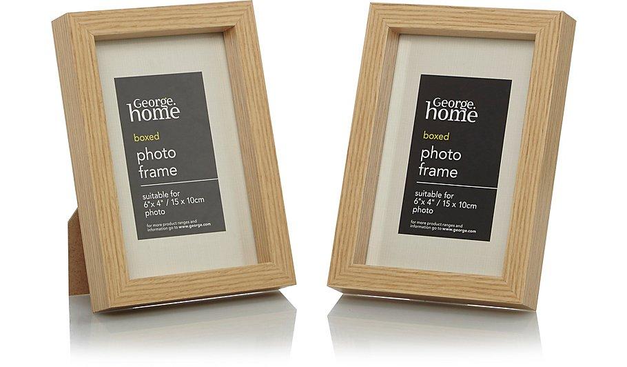Wood Photo Frame 6 X 4 Inch - 2 Pack | Photo Frames | George at ASDA