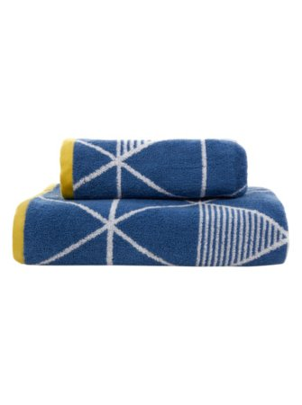 George Home Blue & Yellow Triangle Print Towel Range