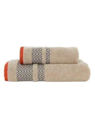 George Home Natural Chevron Border Towel Range