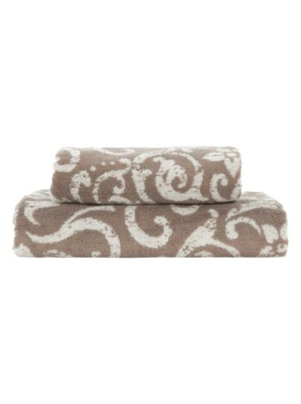 George Home Natural Damask Print Towel Range