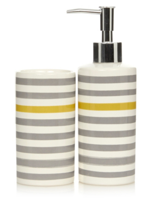 Bon George Home Grey And Yellow Stripe Bathroom Accessories. Loading Zoom