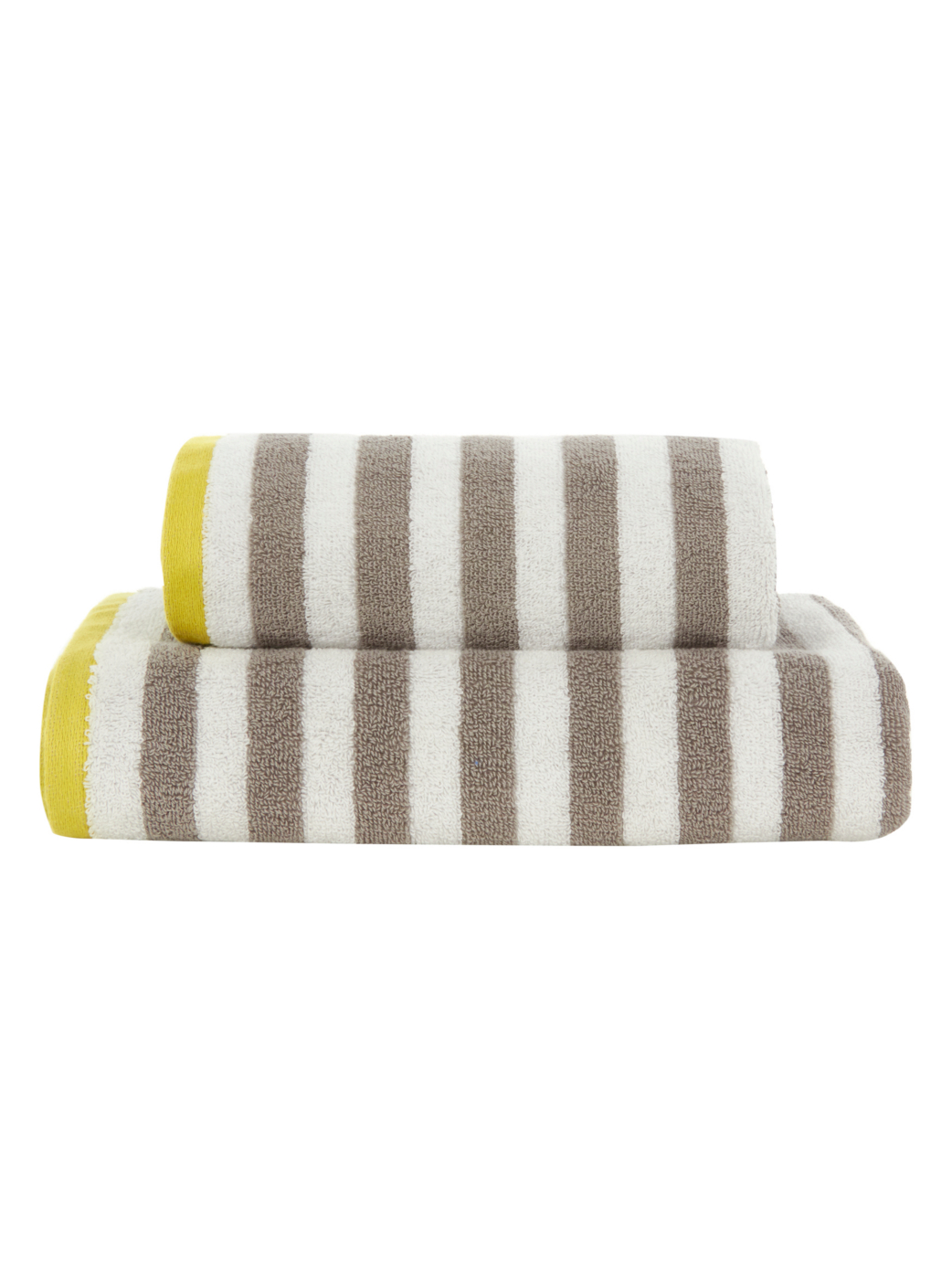 George Home Grey and Yellow Stripe Towel Range