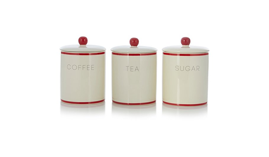 George Home Cream And Red Tea Coffee Sugar Canister Set