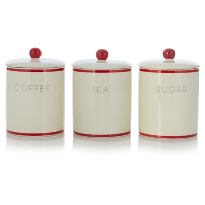 Food Storage Containers Asda Part - 15: George Home Cream And Red Tea, Coffee And Sugar Canister Set