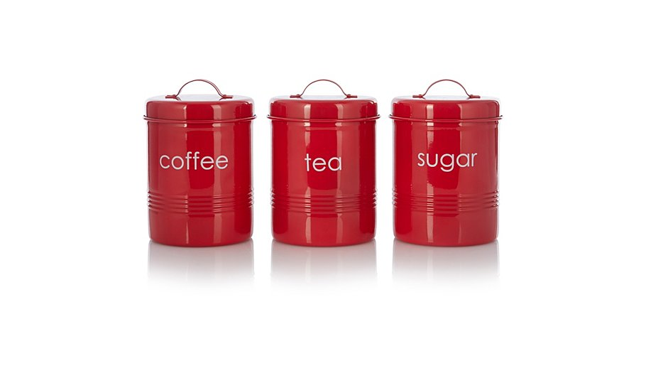 George Home Red Tea Coffee And Sugar Canister Set