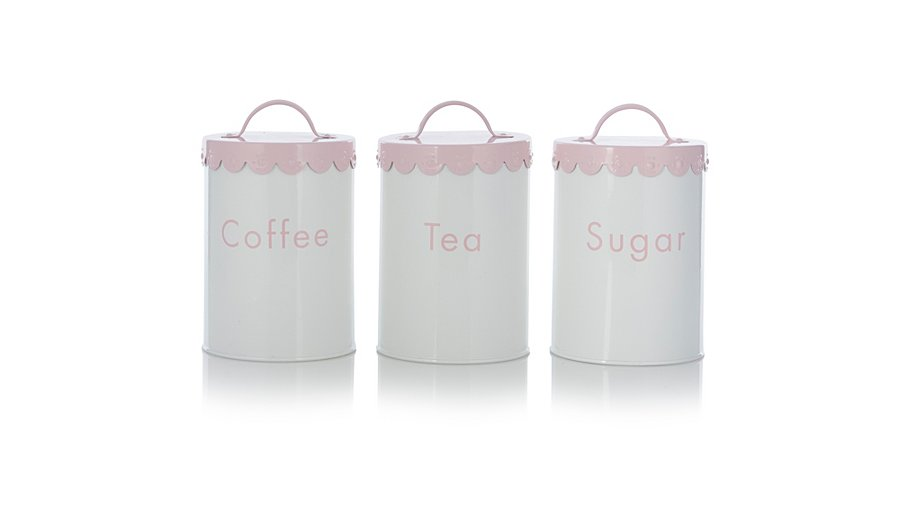 George Home White Scalloped Tea Coffee And Sugar Canister Set