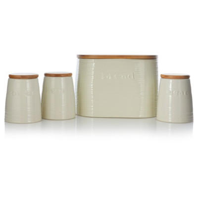 George Home Cream Ceramic Canisters And Biscuit Bin Set