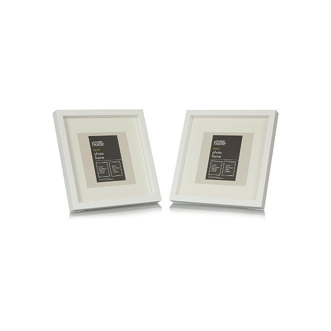 White Boxed Photo Frame 6 X 6 Inch 2 Pack Photo Frames George