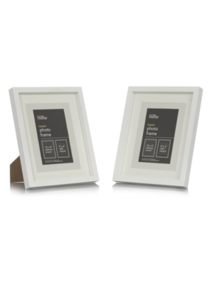 White Boxed Photo Frame   8 X 6 Inch (2 Pack)