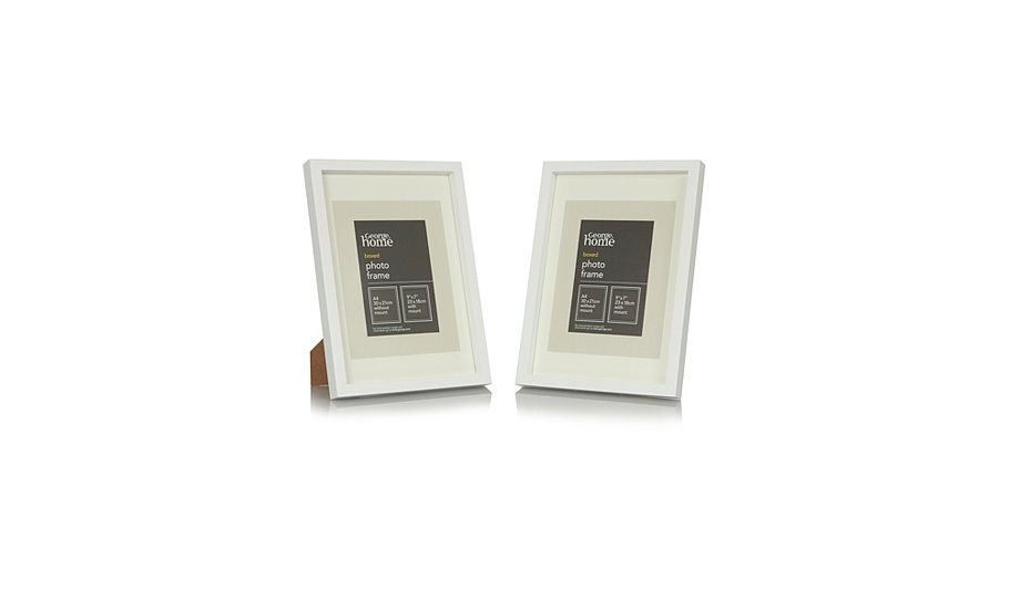 White Boxed Photo Frame-A4 (2 Pack) | Photo Frames | George at ASDA