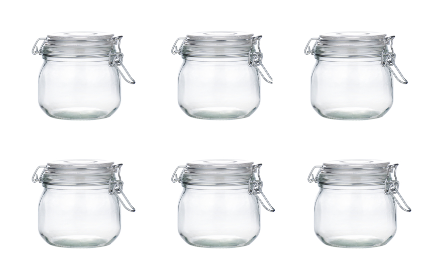 Glass Storage Jar Set of 6 Kitchen Food Storage George at ASDA