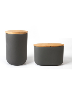 George Home Grey Ceramic Canister Set With Bamboo Lid | Kitchen U0026 Food  Storage | George At ASDA