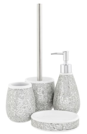 Cracked Silver Glass Bath Accessories Range
