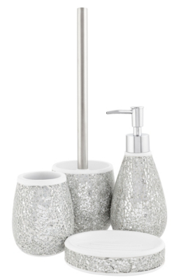 Superior Cracked Silver Glass Bath Accessories Range. Loading Zoom