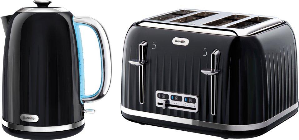 Breville Kettle & 4 Slice Toaster Range - Black
