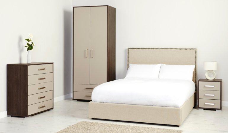George Home Brogan Bedroom Furniture Range - Dark Oak Effect and Grey