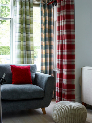 Checked Woven Eyelet Curtains. Loading Zoom
