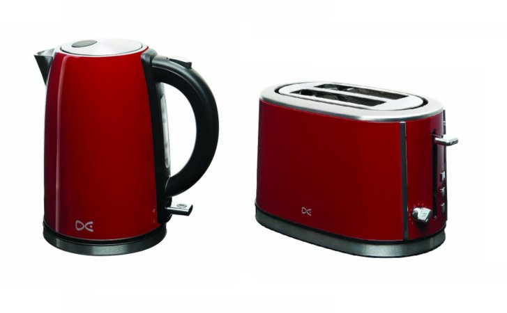 Daewoo Kettle & 2 Slice Toaster Range - Red