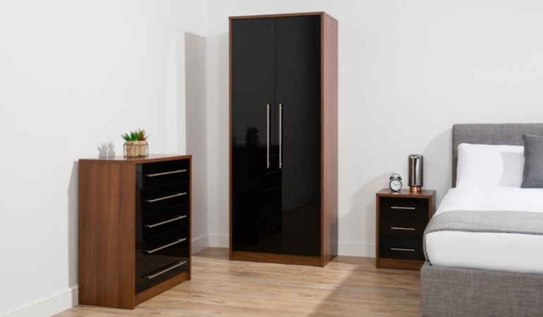 George Home Donahue Bedroom Furniture Range - Walnut Effect and Black